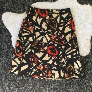 J. Crew Silk/Wool Skirt in Abstract Print